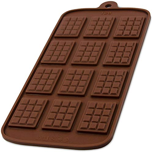 Silikonform mit 12 Schokotafeln,Schokoladenform Tafel, Chocolate Mold, Deko für Bonbon, Praline, Hundeleckerli, Süßigkeiten, Naschen, Torte, Kuchen, Geschenkidee, Farbe: Braun