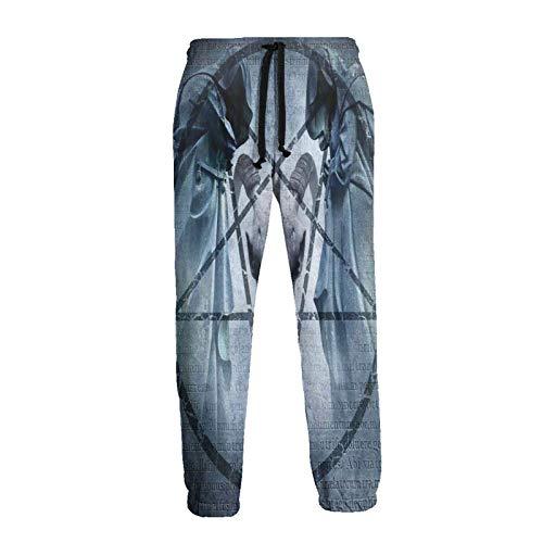 Inaayayi Pentagramm Ziege Schädel Teufel Traum Neuheit 3D Druck Sport Jogger Pants Sweatpants Hip Hop Hose für Männer Frauen Gr. 56, weiß