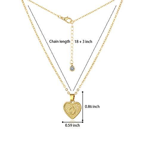 Hunpta - Collar para mujer, diseño de corazón con 26 letras del alfabeto y placa de clavícula