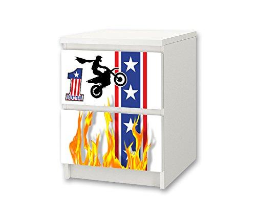 STIKKIPIX Stuntman möbelklistermärke/dekal för barnrum byrå/nattbord MALM från IKEA – NS47 – möbler ingår ej