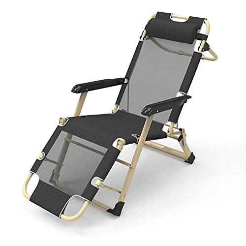 WGFGXQ Tumbona multiposición, Silla Plegable reclinable, Silla con Respaldo Ajustable para Acampar al Aire Libre y jardín, sillones reclinables de Gravedad Cero, Color Negro