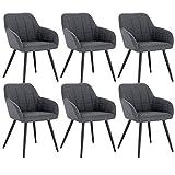 WOLTU 6 x Esszimmerstühle 6er Set Esszimmerstuhl Küchenstuhl Polsterstuhl Design Stuhl mit Armlehne, mit Sitzfläche aus Leinen, Gestell aus Metall, Dunkelgrau, BH107dgr-6