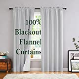 Grey Velvet Curtains for Bedroon 84-inches Long Thermal Insulated Full Blackout Curtain Panels Grommet Top Floor Length Window Curtain for Living Room Office Dorm 2 Panels 50' W