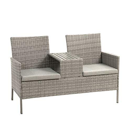 Ribelli Polyrattan Gartensitzbank mit Tisch, 2-Sitzer, für Garten und Terrasse, Gartenbank inkl. Sitzkissen, grau Gartenmöbel Loungemöbel...