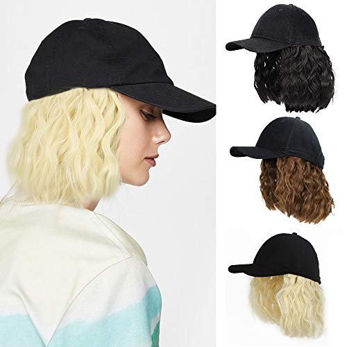 Baseball Cap Wig with Short Wavy Hair Extensions for Women Short Bob Hairstyles Hat wig Adjustable Baseball Hat With Synthetic Curly Hair(Blonde)