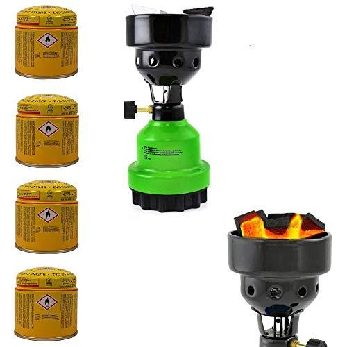 3-in-1 Camping Gaskocher mit Kartusche, Kohleanzünder, Anzünder für Shisha, Campingkocher mit 4X Gaskartuschen, stabiles Metallgehäuse, Grün