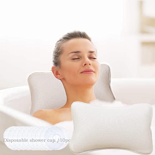 crazy bean Almohada para Bañera Hidroterapia de Baño Almohada de SPA con 2 Potentes Ganchos Cojín de Bañera Espalda Cuello Cojín de Baño Antideslizante (30 * 20 cm, Blanco)
