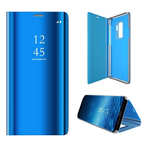 Hexcbay Funda Samsung Galaxy S9, Samsung Galaxy S9 Plus, Elegant Mirror Flip Funda Protectora Ultra Delgada Resistente a Prueba de Golpes Funda para Galaxy S9/S9 Plus (Samsung S9 Plus, Azul)