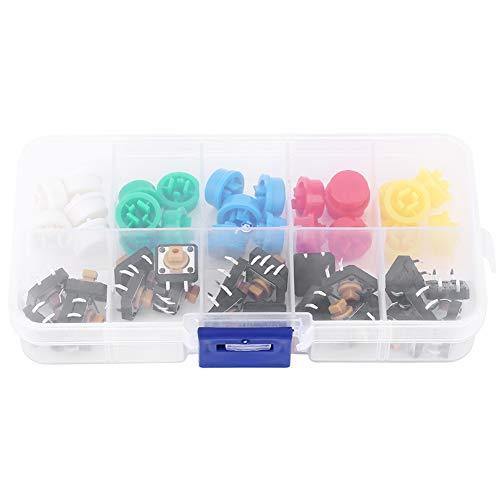Weikeya Conveniente Interruptor de botón Táctil, -25~105 ℃ 12 x 12 x 7.3mm -25 ~ + 105 ℃ Botón de Empuje momentáneo de plástico, Metal