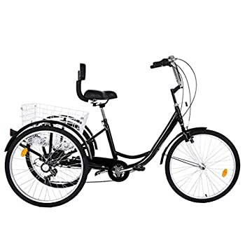 Adult Tricycles 7 Speed Adult Trikes Three Wheel Cruiser Bike Bicycle with 24-Inch Wheels and Large Shopping Basket for Women Seniors Men  Black