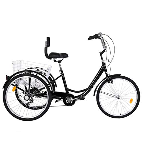 Adult Tricycles 7 Speed, Adult Trikes, Three Wheel Cruiser Bike Bicycle with 24-Inch Wheels and Large Shopping Basket for Women, Seniors, Men (Black)