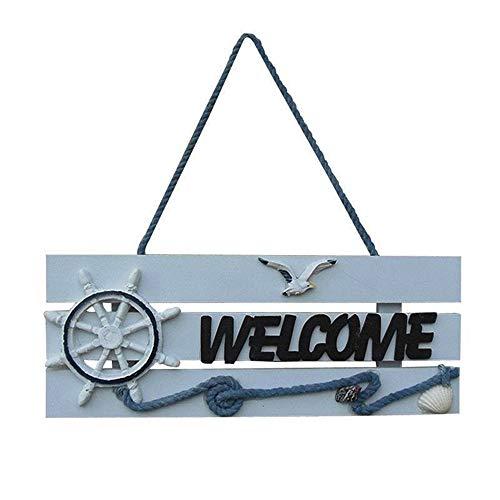 Houten Welkom Teken Opknoping Board, Mediterrane Stijl Welkom Hanger, Shop Teken Van De Deur En Plaque
