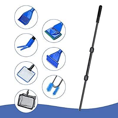 ENLESAITI Aquarium Fish Tank Cleaning Kit 7 in 1 Aquarium Clean Tool Set with Fish Net+Spoon Net+Gravel Rake+Plant Fork+Sponge Brush+Algae Scraper+Double Spring Fish Tank Brush (7 in 1)