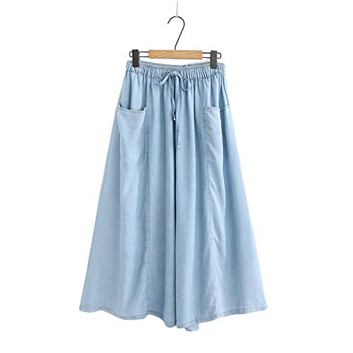 Cinturón elástico de Verano Cinturón de Bolsillo Denim Pantalones de Falda de Pierna Ancha Pantalones para Damas Salida de casa Pantalones Sueltos de Moda
