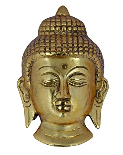 Charmy Crafts Metal Lucky Charm Small Buddha Face Wall Hanging Showpiece (Golden) - 5 inches Height