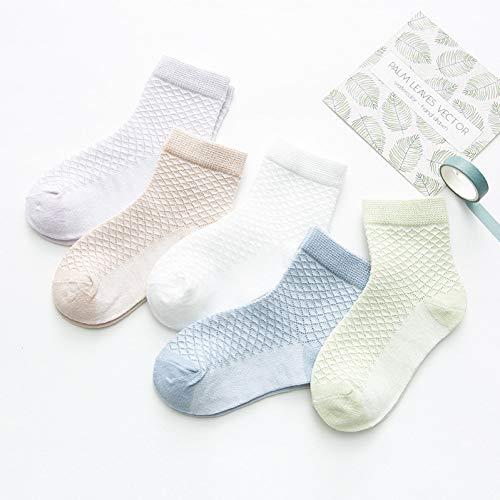 Elanpu Dünne Kindersocken Frühling und Sommer Baumwolle Mesh atmungsaktiv Baby Socken 5 STK,D,M