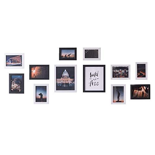 Muzilife Juego de 12 marcos de fotos colágeno de 20 x 25 cm, 7 unidades de 13 x 18 cm, 3 marcos de fotos de 10 x 15 cm, decoración para salón, dormitorio y cocina (blanco y negro)