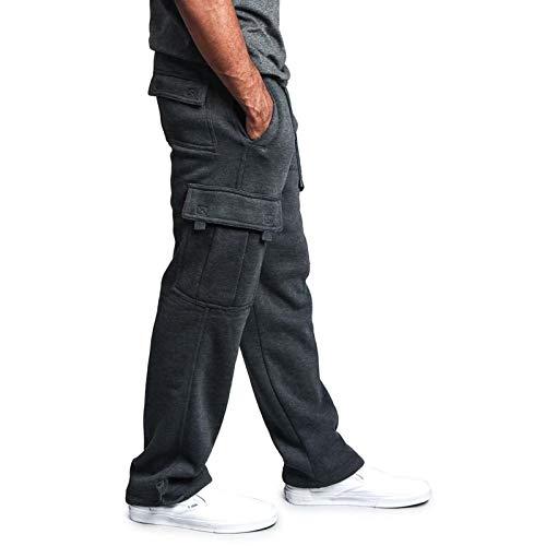 Men's Fleece Cargo Sweatpants Solid Heavyweight Casual Pants Fashion Sport Trousers with Pockets (Dark Grey, 3XL)