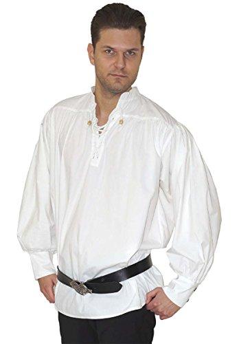 Maylynn - Caytan - Chemise Style médiéval/Pirate - Coton - Blanc - XL/XXL