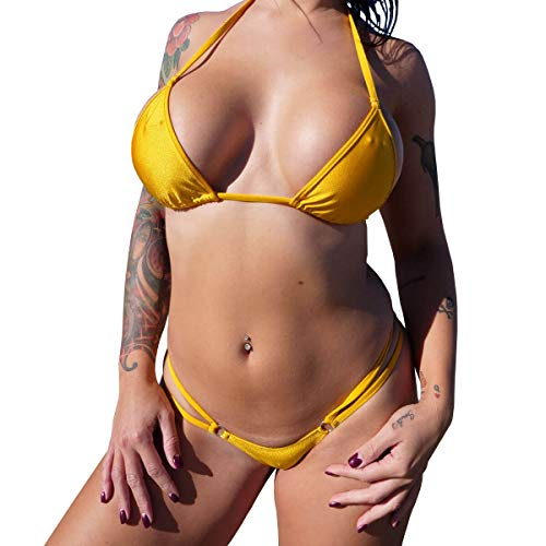 TANGALAND Double String Bikini - Shiny Gold (XL)
