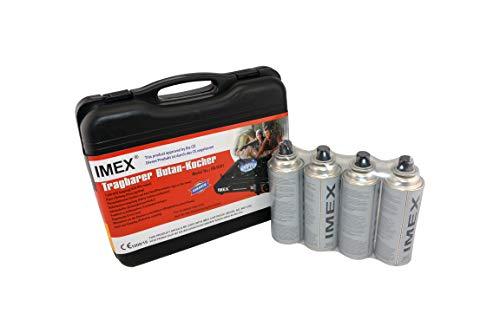i-mex IMEX Kit réchaud à gaz butane Petit format dans mallette de transport avec 4 cartouches de gaz