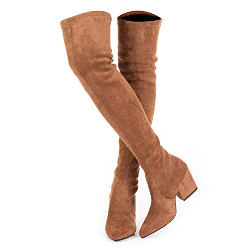 Thigh High Block Heel Boot Women Pointed Toe Stretch Over The Knee Boots (8 B(M) US, Taupe)