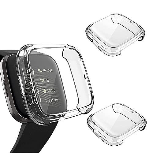Wiki VALLEY Funda para Fitbit Versa 2, suave y ultrafina, de poliuretano termoplástico, con protector de pantalla de cobertura completa, compatible con Versa2-Clear + Clear