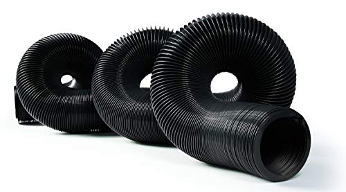 Camco 39611 Durable High Tensile Strength Sewer Steel Wire Core, 20' Hose with 12 mils of HTS Vinyl, Black