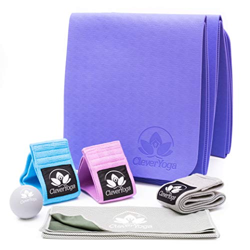 Workout Equipment for Home Workouts  3 NonSlip Fabric Resistance Booty Bands with Latex Grip Folding Yoga Mat Massage Ball Cooling Towel and Bag  Women at Home Gym Leg Butt Thigh Exercise Kit