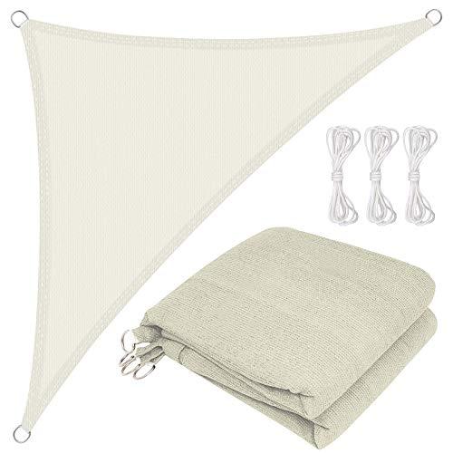 BMOT Toldo Vela de Sombra Triangular 5x5x5m Impermeable a Prueba de Viento protección UV para Patio, Exteriores, Jardín, Color Crema