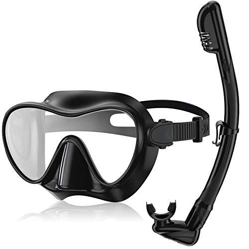 Splonary Dry Snorkel Set, Anti-leak Frameless Scuba Diving Mask with Anti-fog Tempered Glass Lens, Easy...
