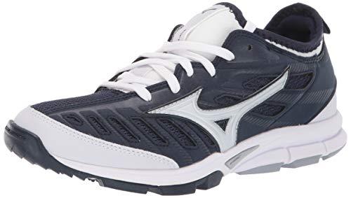 Mizuno Women's Players Trainer 2 Fastpitch Turf Softball Shoe, Navy/White, 9.5 B US