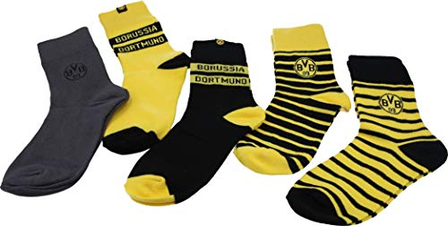 Borussia Dortmund BVB-Socken (5er-Pack), gelb, schwarz, grau, Gr. 39-42