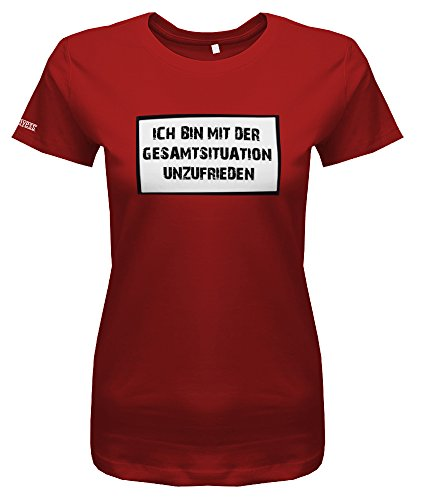 Jayess ICH Bin MIT DER GESAMTSITUATION UNZUFRIEDEN - Deluxe Style - Rot - Women T-Shirt by Gr. M
