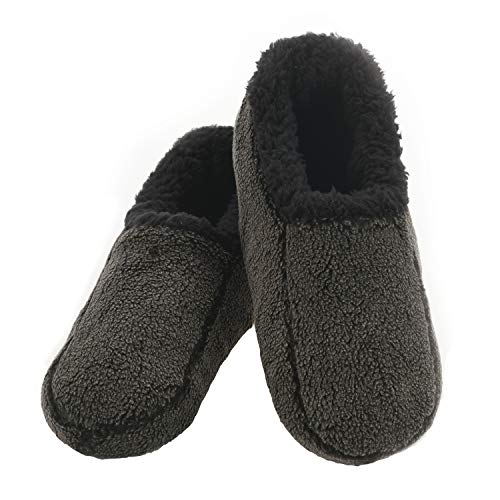 Snoozies Mens Two Tone Fleece Lined Slippers - Comfortable Slippers for Men - Black - Large