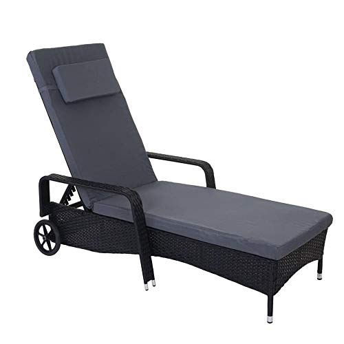 FQTLWR Poly Rattan Sun Lounger Natural Finish Wellness Lounger with Adjustable Backrest, Available, Black