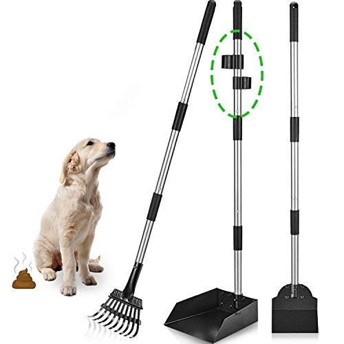 Dog Pooper Scooper, Metal Aluminum Tray Rake and Spade Poop Scoop, Adjustable Stainless Long Handle...