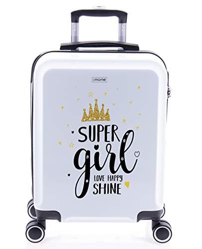 imome Cool Maleta de Cabina Juvenil Super Girl 55x40x20 cm | Equipaje de Mano, Trolley de Viaje Ryanair, Easyjet | Maleta de Viaje Rígida Divertida