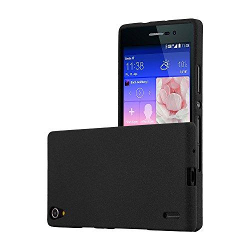 Cadorabo Hülle für Huawei P7 - Hülle in Frost SCHWARZ – Handyhülle aus TPU Silikon im matten Frosted Design - Silikonhülle Schutzhülle Ultra Slim Soft Back Cover Case Bumper