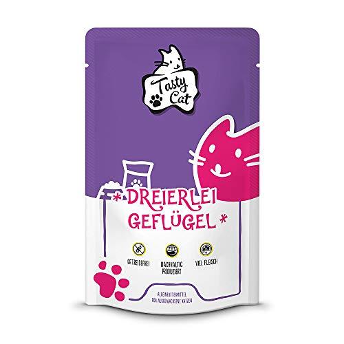 Tasty Cat Nassfutter für Katzen Dreierlei Geflügel 12 x 125g. | getreidefrei | zuckerfrei