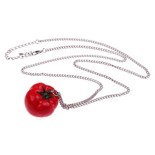 WeAreAwesome Tomaten Halskette - ca. 70cm Lange Kette - Gemüse Anhänger Paradeiser Tomate Obst Früchte Retro