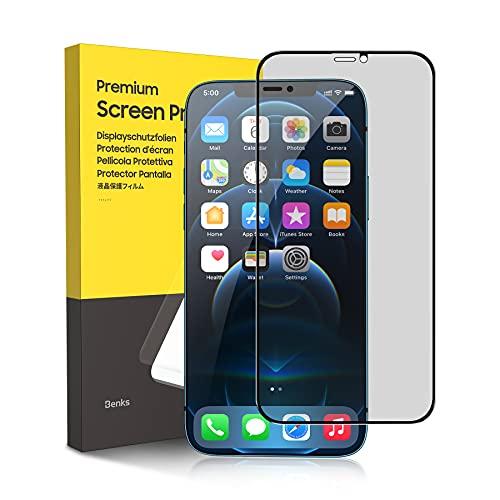 BENKS Sichtschutz Panzerglas für iPhone 12/ iPhone 12 Pro Panzerglas mit Positionierhilfe 9H Gehärtet Folie 3D Kante Anti-Bläschen Glas Hülle Freundllich