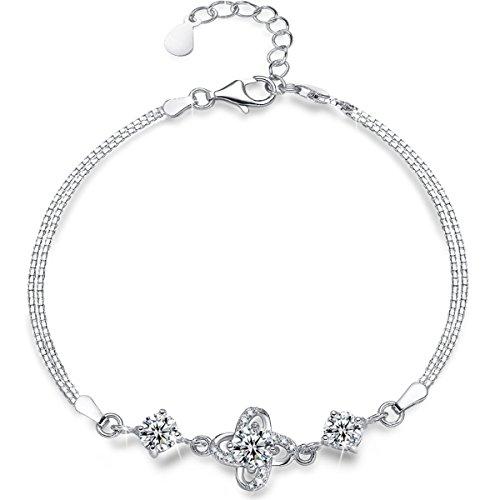 Presentski Bracciale in argento sterling 925, Quattro foglia con braccialetto di fascino di diamanti Regalo Della Festa Della Mamma