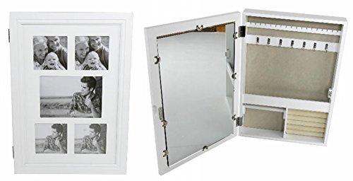Schmuckschrank + Fotorahmen Schmuckkasten Schlüsselkasten Foto weiß