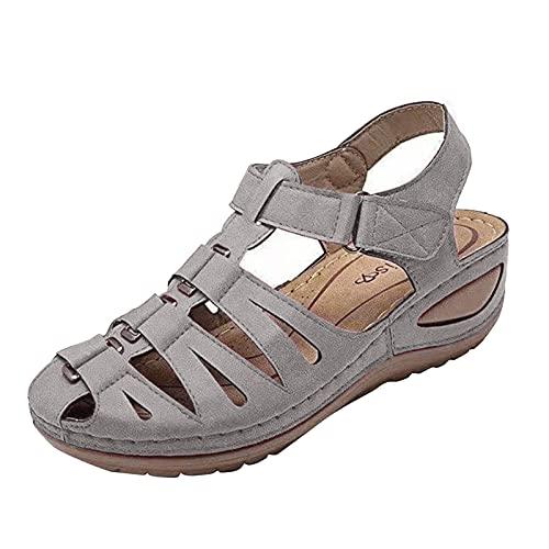 Nuevo 2021 Sandalias Mujer Verano Moda Elegante Zapatos de plataforma Cuña clásico Hueca Zapatos Playa Retro Zapatillas Sandalias de casual Fiesta Tacones Altos Sandalias