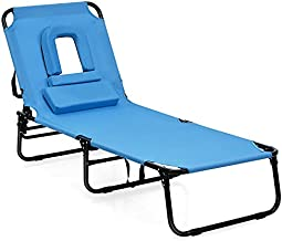 Goplus Folding Lounge Chair for Beach Poolside Balcony Patio, Portable Recliner w/Tanning Face Down Hole and Pillow (1, Navy)