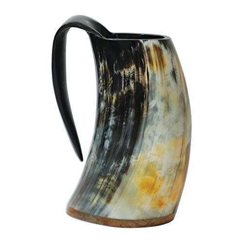 Loop cuerno para beber la taza de cerveza jarra de cerveza con base de madera - genuino artesanal vikings original cuerno taza de la taza de mead, ale y cerveza - (acabado natural, 500 ml | 16 oz)