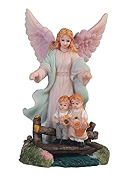 StealStreet SS-G-1645W 5  White Guardian Angel Statue Figurine Watching Over 2 Kids