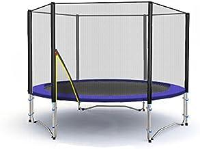 Deluxe Trampolín profesional de jardín - trampolín - trampolín xxl - trampolines para niños - varios tamaños y colores (Azul, 185cm con Escalera)