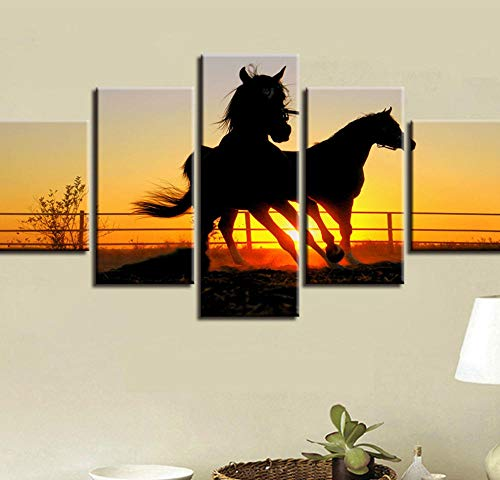 PrintWUHUA Cuadros para Dormitorios Modernos Animal De Caballo Bajo El Sol Poniente Cuadros Decoracion Salon Modernos 5 Partes